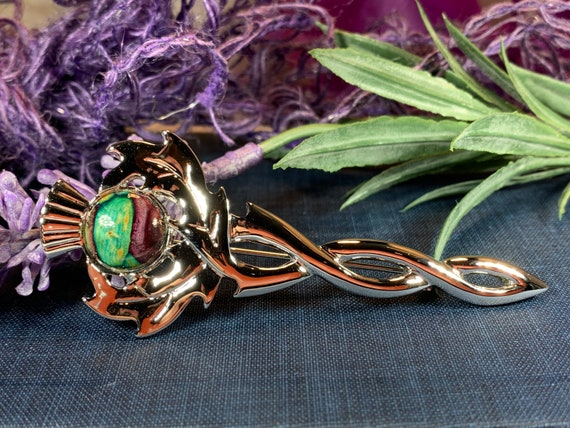 Thistle Kilt Pin, Scotland Jewelry, Nature Jewelry, Outlander Jewelry, Kilt Pin, Scotland Pin, Bride Pin, Celtic Pin, Wiccan Pin
