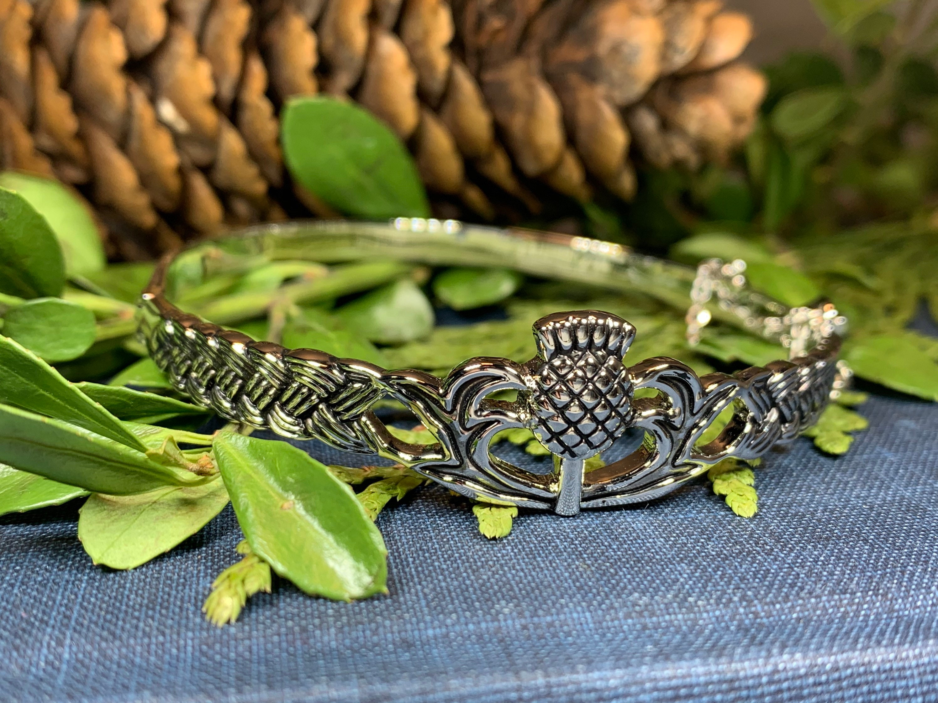 Celtic Scottish Thistle Bangle Bracelet