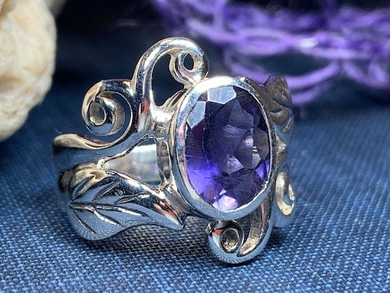 Celtic Filigree Ring, Gemstone Jewelry, Statement Ring, Garnet Jewelry, Celtic Jewelry, Anniversary Gift, Wiccan Jewelry, Wife Gift