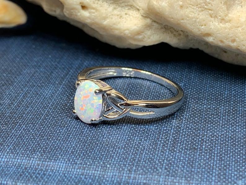 Bridal Jewelry Trinity Knot Jewelry Scottish Mist Celtic Ring Opal Jewelry Celtic Jewelry Anniversary Gift Mom Gift Scotland Jewelry