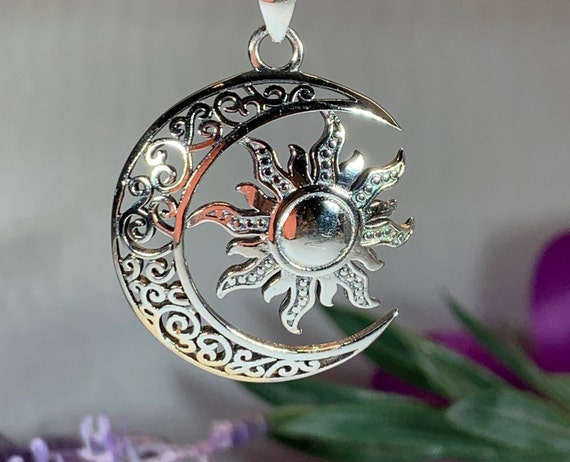 Moon Necklace, Sun Necklace, Celestial Jewelry, Mystical Jewelry, Friendship Gift, Celtic Pendant, Crescent Moon Pendant, Pagan Necklace