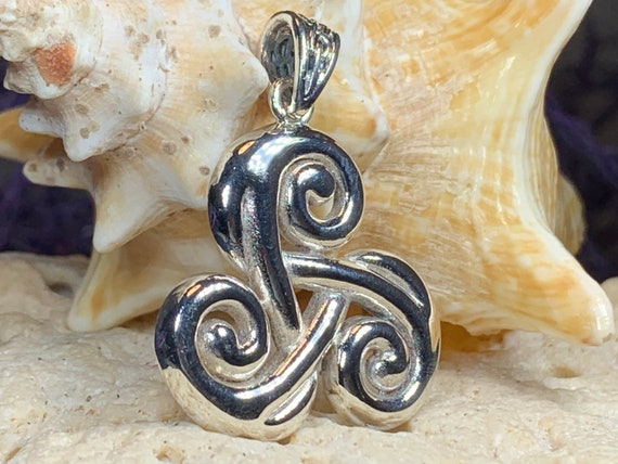 Triple Spiral Necklace, Celtic Necklace, Irish Jewelry, Scotland Jewelry, Celtic Spiral Jewelry, Wiccan Jewelry, Anniversary Gift, Mom Gift
