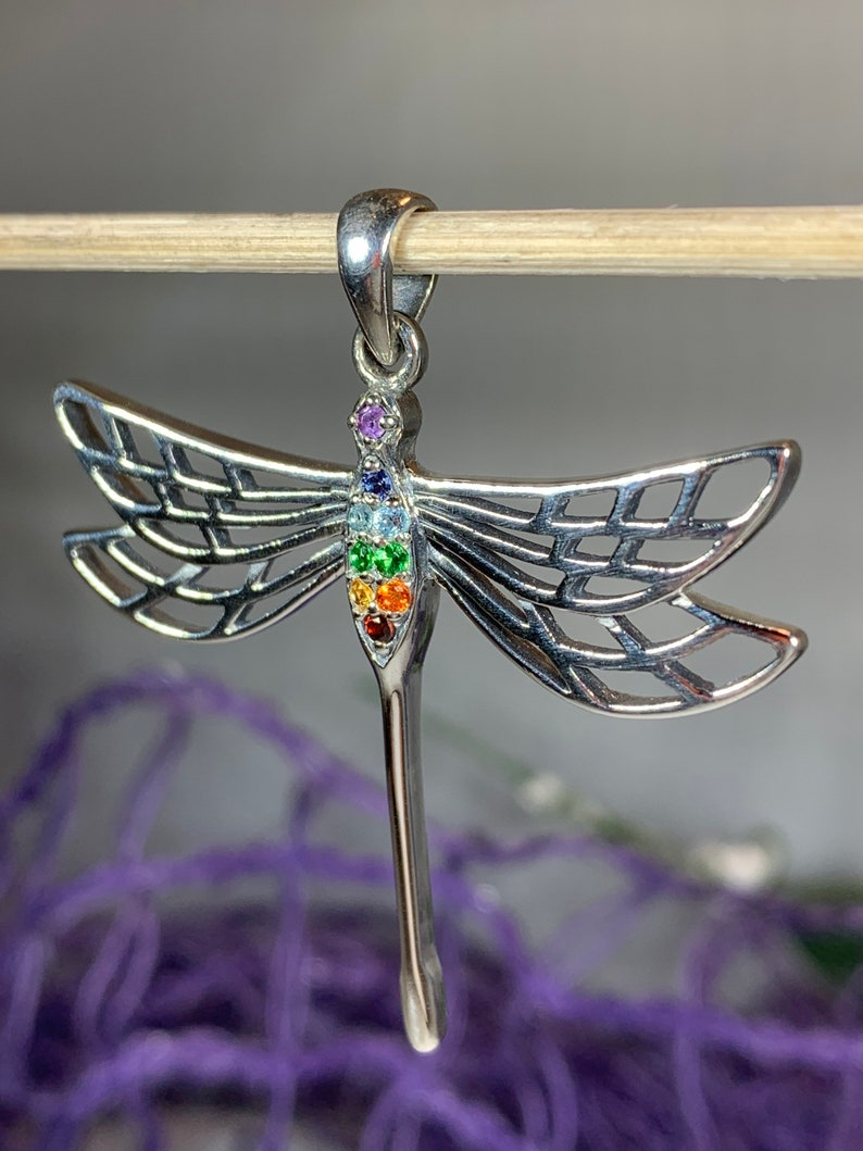 Chakra Jewelry Dragonfly Necklace Nature Necklace Memorial Jewelry Anniversary Gift Outlander Jewelry Rainbow Jewelry Insect Jewelry