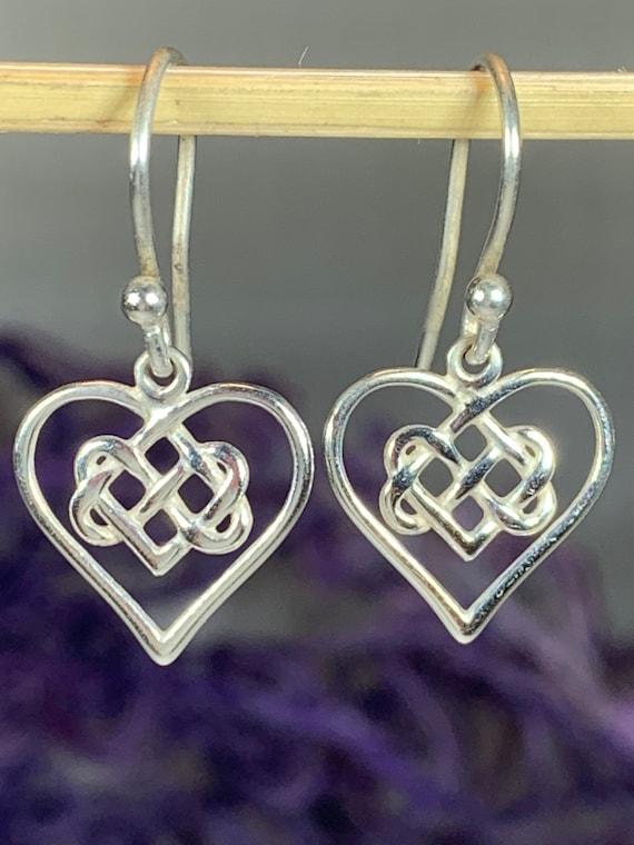 Heart Earrings, Love Knot Jewelry, Celtic Jewelry, Anniversary Gift, Bridal Jewelry, Heart Jewelry, Irish Jewelry, Scotland Jewelry