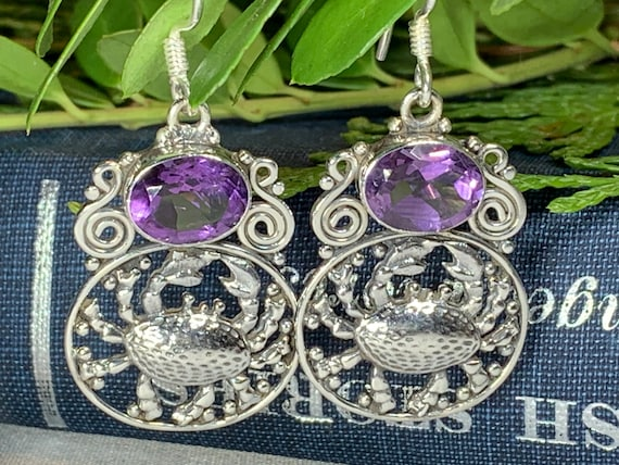 Crab Earrings, Celtic Jewelry, Nautical Jewelry, Nature Jewelry, Amethyst Jewelry, Anniversary Gift, Ocean Jewelry, Beach Jewelry