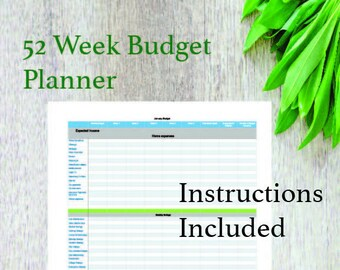 52 Week and Monthly Budget Printout/ Budgeting/ Budget Planner/ Expense Tracker/ Budget/ Finance Planners/ Paycheck by Paycheck