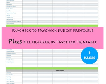 Paycheck To Monthly Budget Printout Budgeting Planner Expense Tracker Finance Planners By