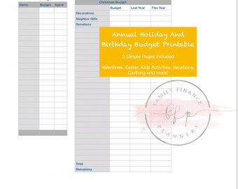 Holiday and Birthday Budget Printout/ Budgeting/ Budget Planner/ Expense Tracker/ Budget/ Finance Planners/ Paycheck by Paycheck