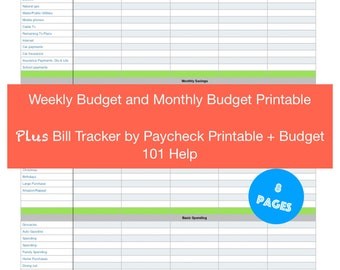 Weekly and Monthly Budget Printout/ Budgeting/ Budget Planner/ Expense Tracker/ Budget/ Finance Planners/ Paycheck by Paycheck