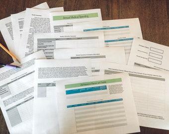 Employee Benefit Workbook Printout/ Medical Insurance Plan/ 401K Plan/ Life Insurance Planner