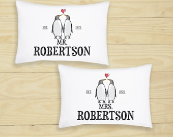 Personalised Pillowcase Cushion Cover Penguin Love Gift for Couples Linen