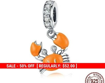 704872ace Sterling Silver Crab Charm, Beach Charm, Sea Charm, Ocean Charm, Silver  Crab, Crab Jewelry, Nautical Charms, Fits Pandora Bracelet