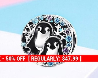 6fb46d6dd Sterling Silver Penguin Charm, Holiday Charm, Animal Charm, Snowflake Charm,  Penguin Jewelry, Penguin Gift, Cute Penguin, Fits Pandora