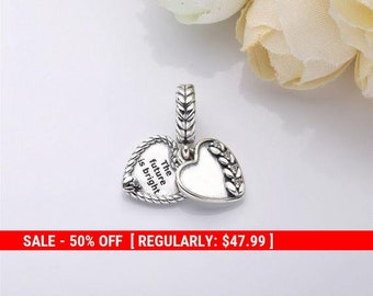 df1fd6fc8 Sterling Silver Future Is Bright Charm, Seeds Charm, Fall Charm, Flower  Charm, Heart Charm, Autumn Charm, Nature Charm, Fits Pandora