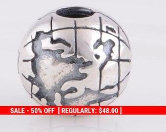 fa1f59de8 Sterling Silver Globe Clip Charm, World Charm, Travel Charm, Map Charm,  Vacation Charms, Teacher Charm, Planet Charms, Fits Pandora Bracelet