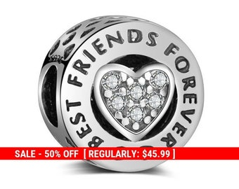 fe8b7e004 Sterling Silver Forever Friends Charm, BFF Charm, Best Friend, Best Friend  Jewelry, Valentines Day Gift, Friends Forever, Fits Pandora