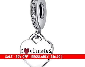 4855919f5 Sterling Silver Soul Mates Charm, Soulmates, Love Charm, Word Charm,  Valentines Day Gift, Valentines Day, Wedding Charm, Fits Pandora