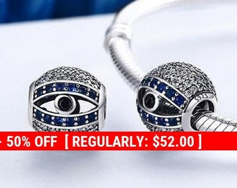 ed00bf197 Sterling Silver Blue Evil Eye Charm, Evil Eye Jewelry, Evil Eye Pendant,  Good Luck Charm, Evil Eye Protection, Blue Eye Charm, Fits Pandora