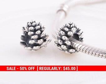 07d8a259b Sterling Silver Pinecone Charm, Pine Cone Charm, Fall Charm, Pinecone  Jewelry, Nature Charm, Autumn Charm, Fits Pandora Bracelet