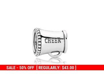 4f9ef6b3c Sterling Silver Two Sided Cheerleader Charm, Silver Cheerleader, Megaphone  Charm, Cheerleader Gift, Cheerleader Jewelry, Fits Pandora