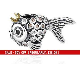 Silver fish pendant etsy sterling silver fairy tale fish charm fish jewelry animal charm silver fish pendant goldfish charm nautical charm fits pandora aloadofball Image collections