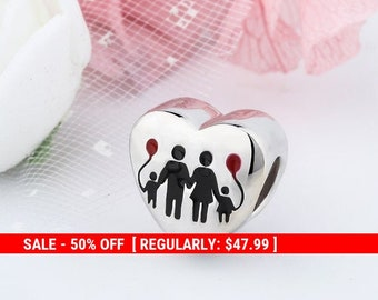 c5ca1eaad Sterling Silver Family Charm, Heart Charm, Forever Charm, Home Charm, Word  Charms, Love Charm, Family Jewelry, Family Forever, Fits Pandora