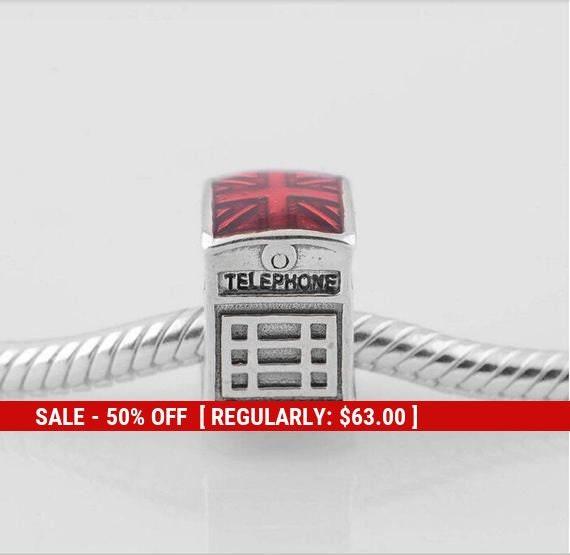Sterling Silver Telephone Booth Charm, Phone Booth Charm, Telephone, Red  Telephone Box, London Charm, Telephone Box, Fits Pandora Bracelet