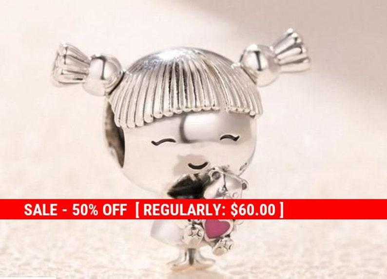 Charm in sterling silver Girl with pigtails