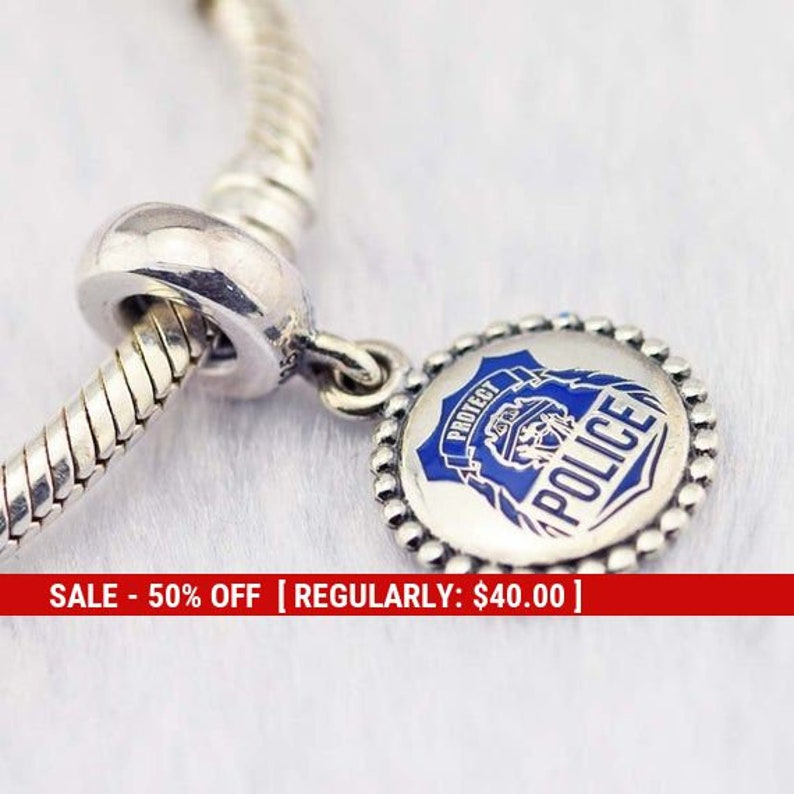 296453f847e70 Sterling Silver Police Charm, Police Badge, Police Jewelry, Police  Girlfriend, Police Wife, Police Department, Police Gift, Fits Pandora