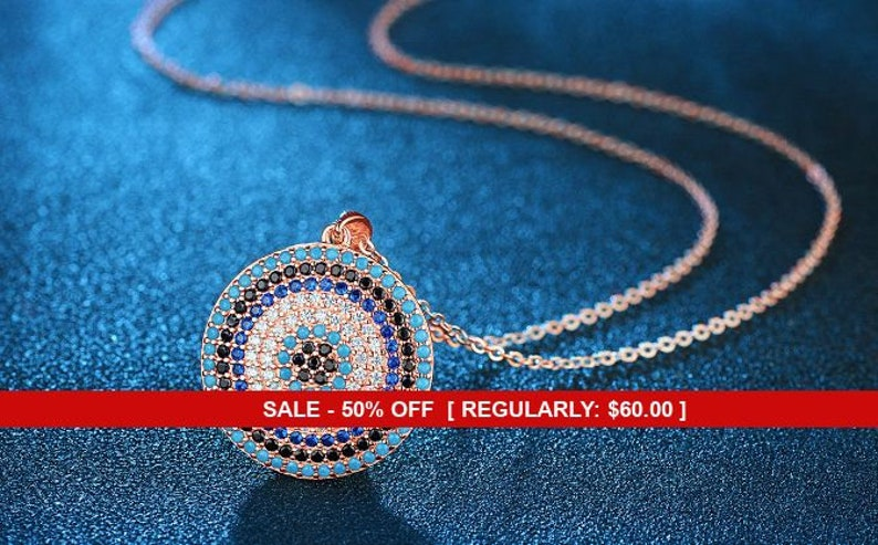Turquoise Jewelry Evil Eye Jewelry Rose Gold Jewelry Evil Eye Sterling Silver Rose Gold Blue Evil Eye Necklace Turquoise Necklace