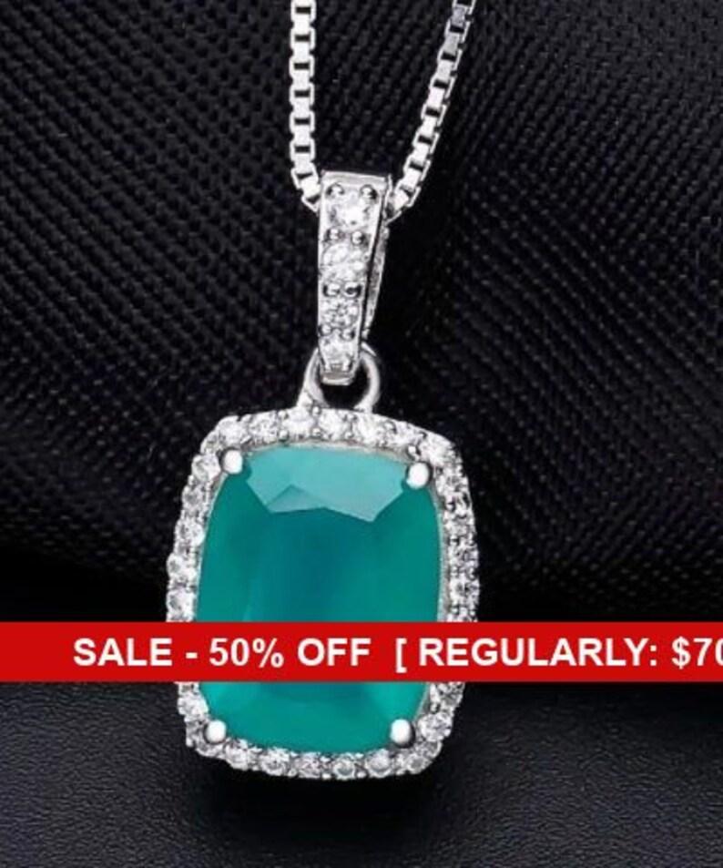 Gemstone Pendant Agate Pendant Bridal Agate Jewelry Wedding Sterling Silver Genuine Green Agate Gemstone Necklace Wedding Jewelry