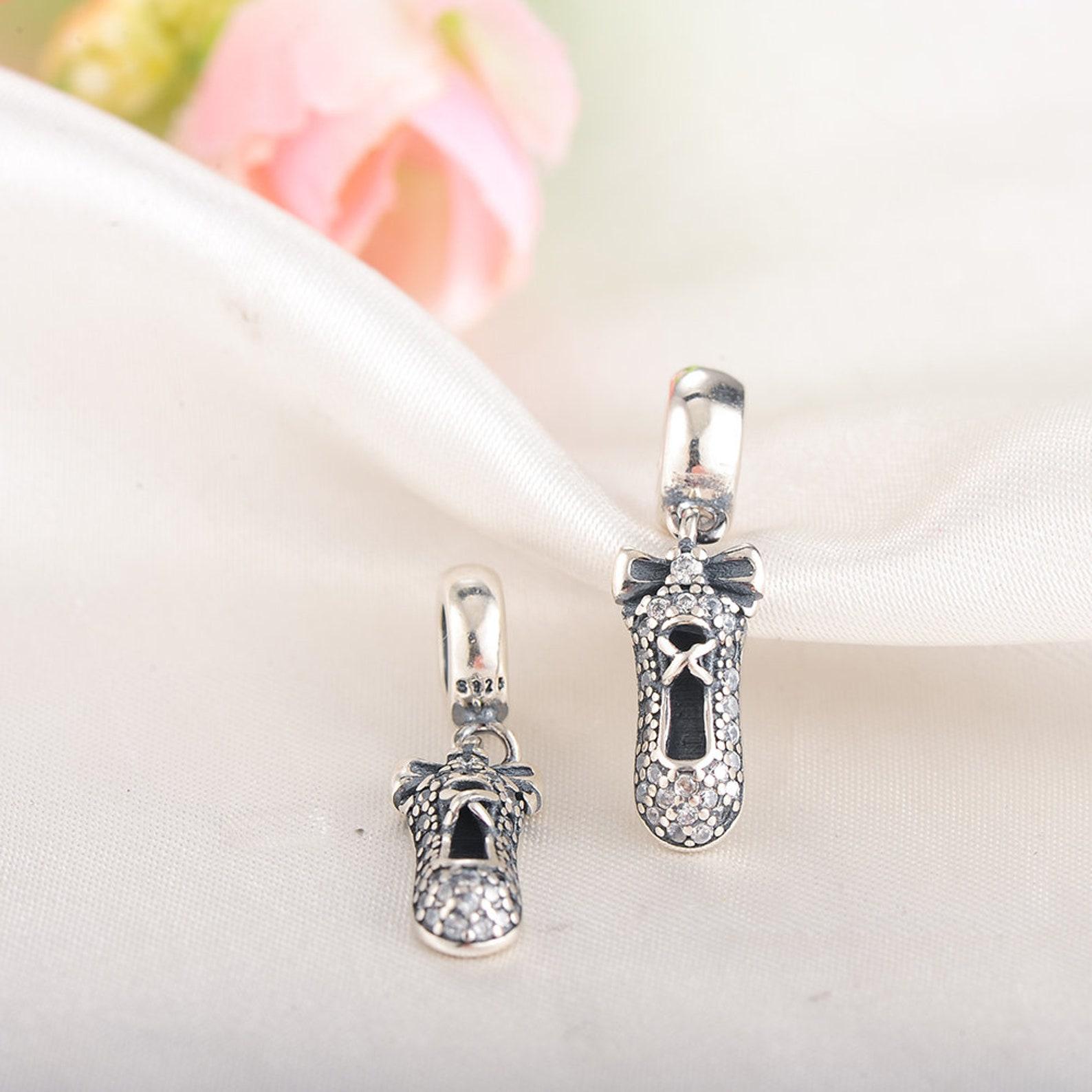 sterling silver ballet shoe charm, ballet charm, ballerina charm, shoe charm, ballet pendant, ballet necklace, fits pandora brac