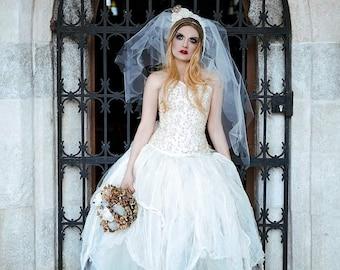 costume dead bride wedding dress corset dress halloween cosplay outfit