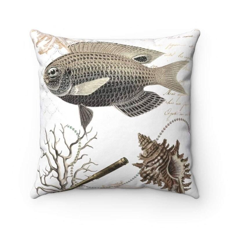 Fish Beige Marine Nautical Throw Pillow  Cushion Ocean Saling Lover Gift Beach House Decore
