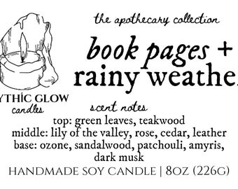 Book Pages & Rainy Weather | Natural Scented Soy Candle or Waxmelt | Premium Home Fragrance | Bookish Candle | Bookworm | Pluviophile
