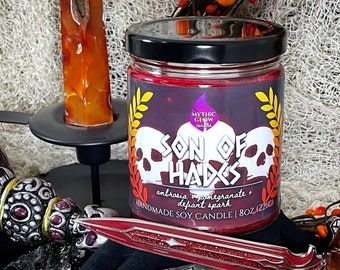 Son of Hades |  Hades Video Game, Greek Mythology Inspired Soy Candle or Wax Melt | Video Game Candle | Video Game Gift | Gamer Candle