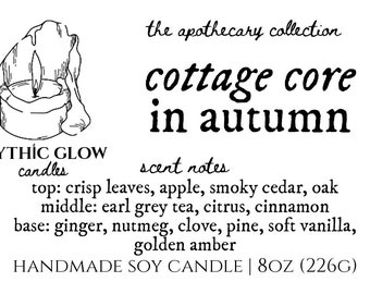 Cottage Core in Autumn | Natural Scented Soy Candle or Waxmelt | Premium Home Fragrance | Bookish Candle | Bookworm | Hygge | Cozy
