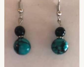 Teal and black marble earrings