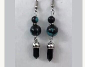 Teal and marble dangled earrings
