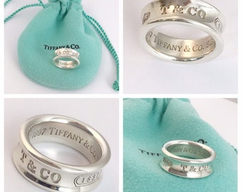 c88c06a7e Stunning AUTHENTIC Tiffany and Co Sterling Silver 1837 Ring UK size i