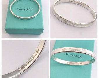 471d30123797 AUTHENTIC Stunning solid silver Tiffany   Co 1837 Bangle Size Small