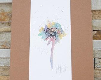 Original Watercolor of a Dandelion