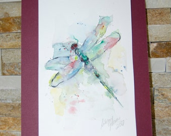 Original Watercolor of a Dragonfly
