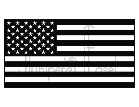 American Flag Svg Usa Fourth Of July Black White Flag Etsy