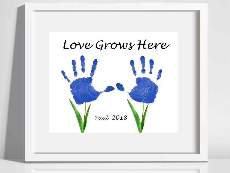 photo relating to Printable Handprints identified as Take pleasure in Grows In this article Handprints ,Printable Handprints Keepsake, Child Handprints Artwork, Little ones Craft Artwork.