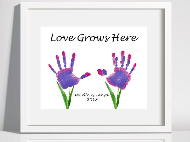image relating to Printable Handprints titled Get pleasure from Grows Below Handprints ,Printable Handprints Keepsake, Boy or girl Handprints Artwork, Children Craft Artwork.