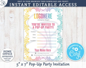 Instant Editable Pop Up Party Invitations