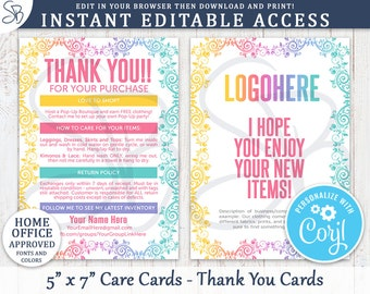 "Instant Editable Thank You / Care Cards with Return Policy 5"" x 7"" - Independent Fashion Retailer, LLR Inspired, Home Office Approved - LR1"