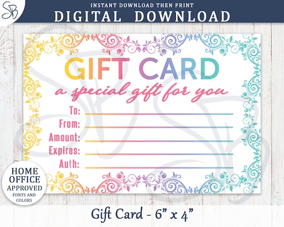 Printable Gift Card Available In Digital Download Jpg Format Fashion Gift Cards Llr Inspired Home Office Approved Lr1