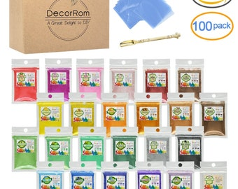 Mica Powder - 24 Color Soap Dye with 100 Shrink Wrap Bags, 1 Spoon-Skin Safe Soap Colorant Pigments for Soap Making Supplies-Cosmetic Grade